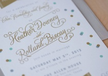 aqua and gold confetti invitation