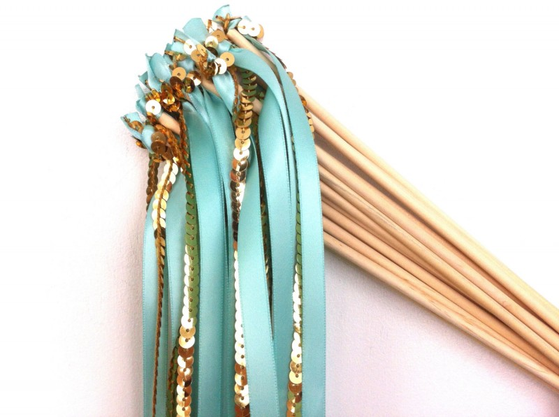 aqua and gold sequin ceremony wands | via 10 NEW Something Blue Ideas | http://emmalinebride.com/bride/new-something-blue/