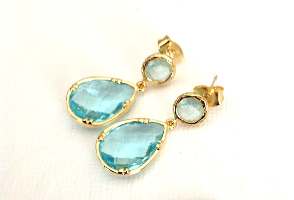 Aqua and Gold Earrings | TRE PERLE | http://emmalinebride.com/bride/aqua-and-gold-earrings