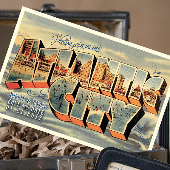 atlantic city postcard | vintage save the date postcards