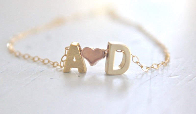 initials and heart necklace by ava hope designs | via emmalinebride.com