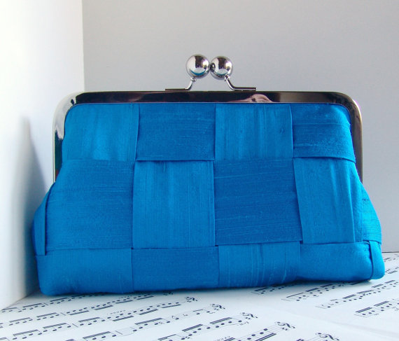 azure blue clutch purse by toriska via Colorful Wedding Accessories