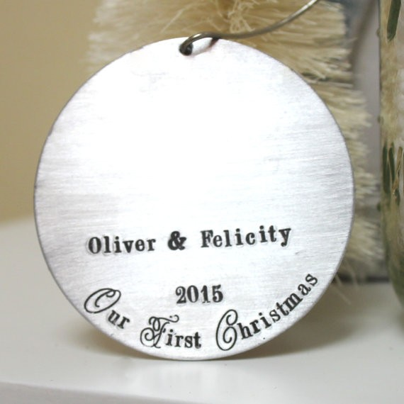retro our first christmas ornament by Spiffing Jewelry   http://emmalinebride.com/2015-giveaway/our-first-christmas-ornament/