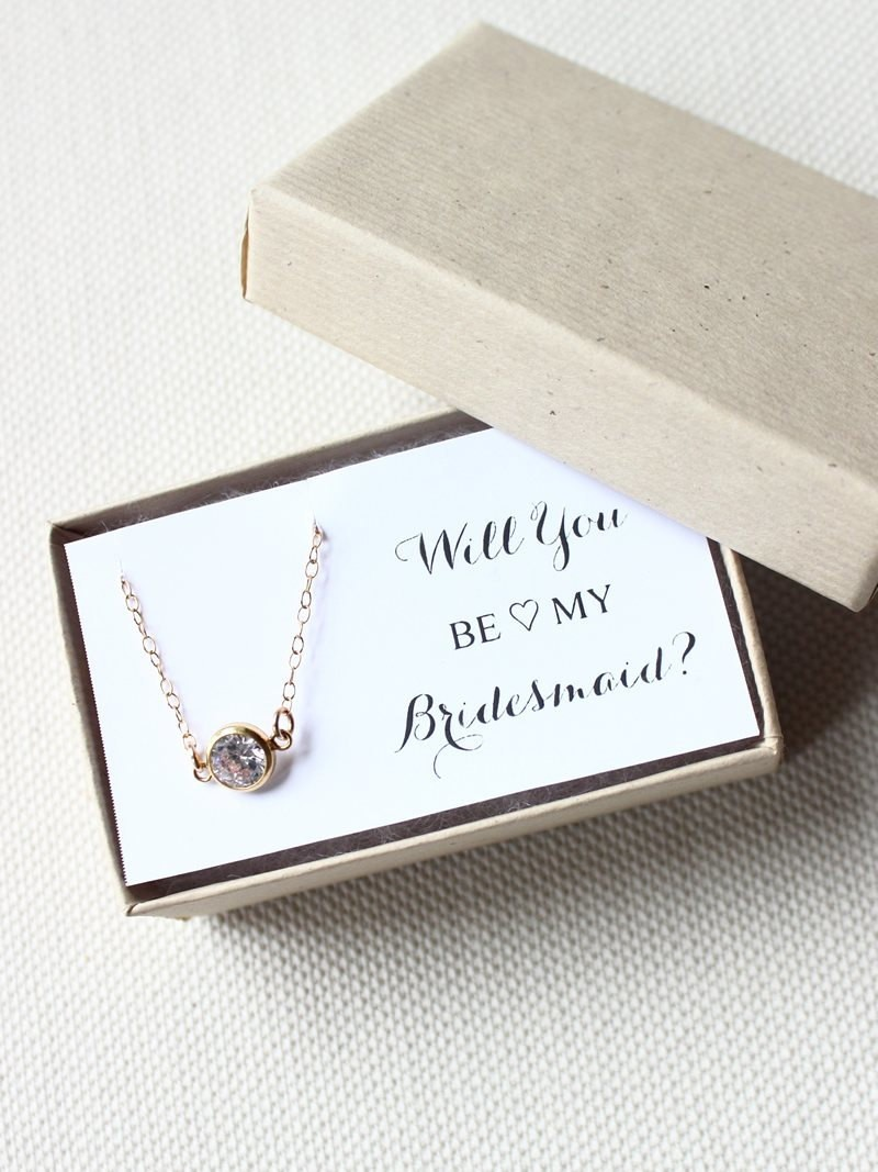 be my bridesmaid birthstone necklace | birthstone jewelry gifts | http://emmalinebride.com/gifts/birthstone-jewelry-gifts/