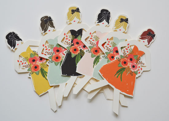 12 Useful Gift Ideas for Newly Engaged - be my bridesmaid paper doll cards by the first snow