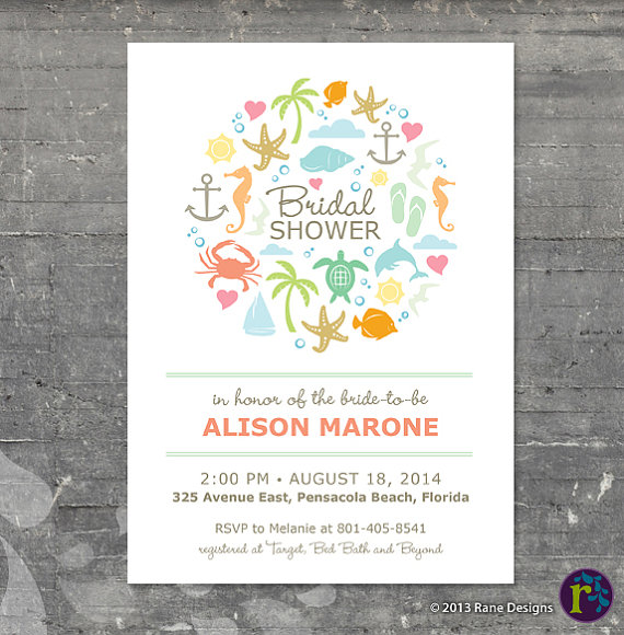Beach Themed Bridal Shower Invitations is best invitation example