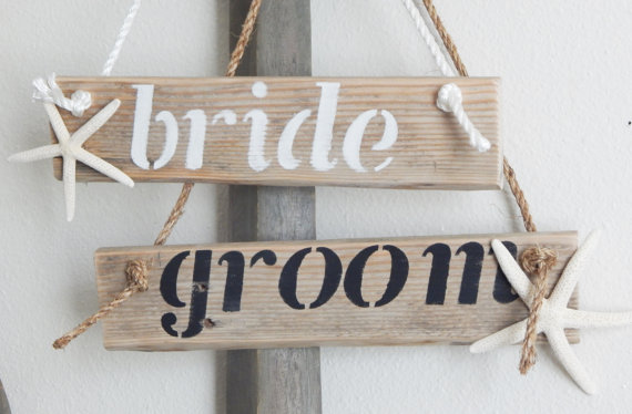 beach starfish bride and groom chair signs | via bride and groom chair signs http://emmalinebride.com/decor/bride-and-groom-chairs/