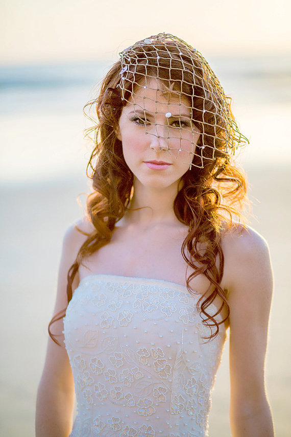 beach wedding veil with netting