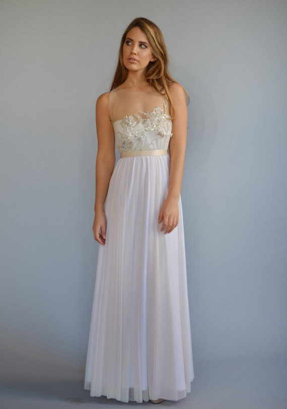 beaded embroidery long wedding dress