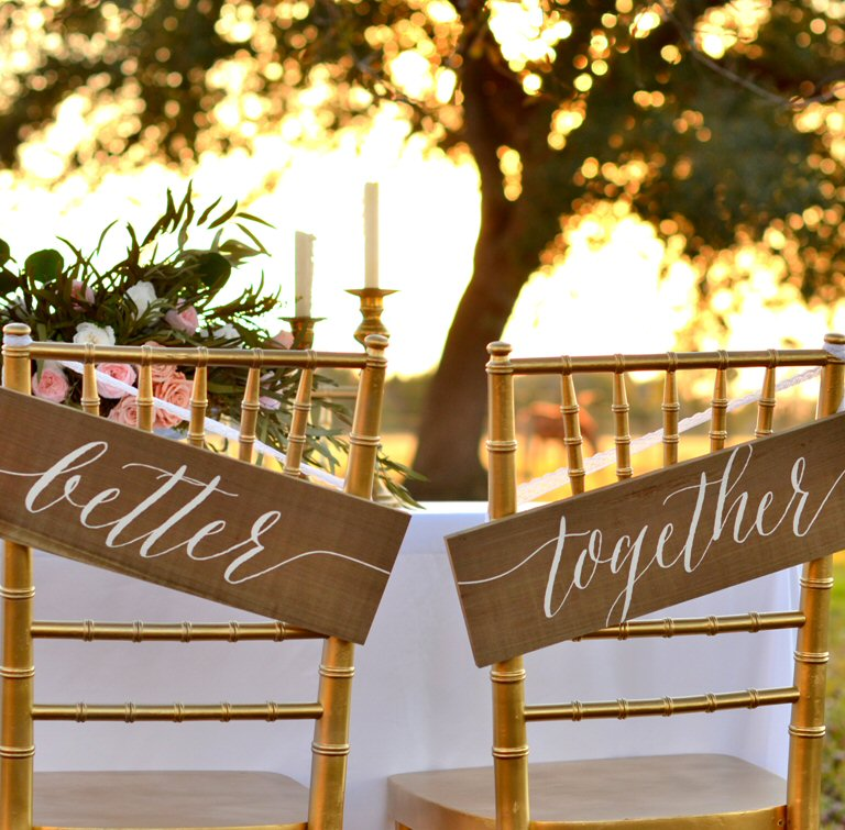 Better Together Chair Signs | via bride and groom chair signs http://emmalinebride.com/decor/bride-and-groom-chairs/
