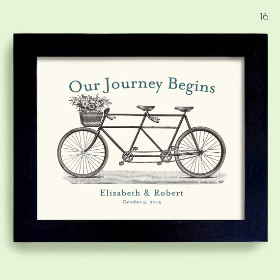 bicycle themed wedding art print