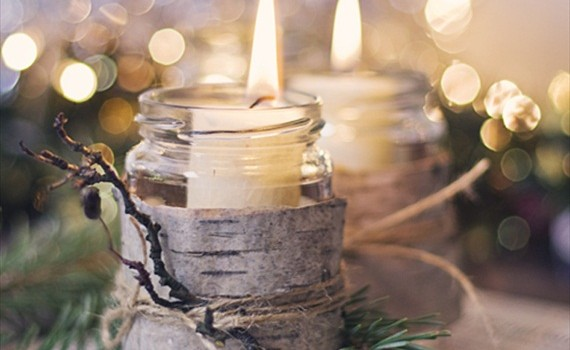 birch wrapped mason jar candles