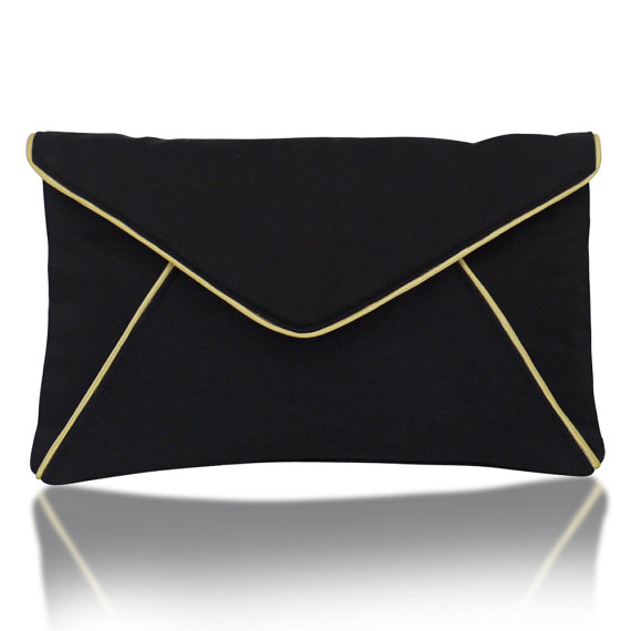 black and gold envelope clutch purse - wedding party bags