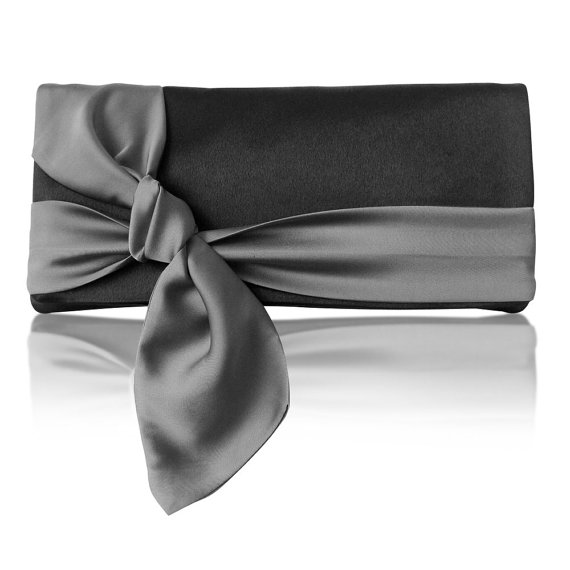 black and gray clutch with satin bow