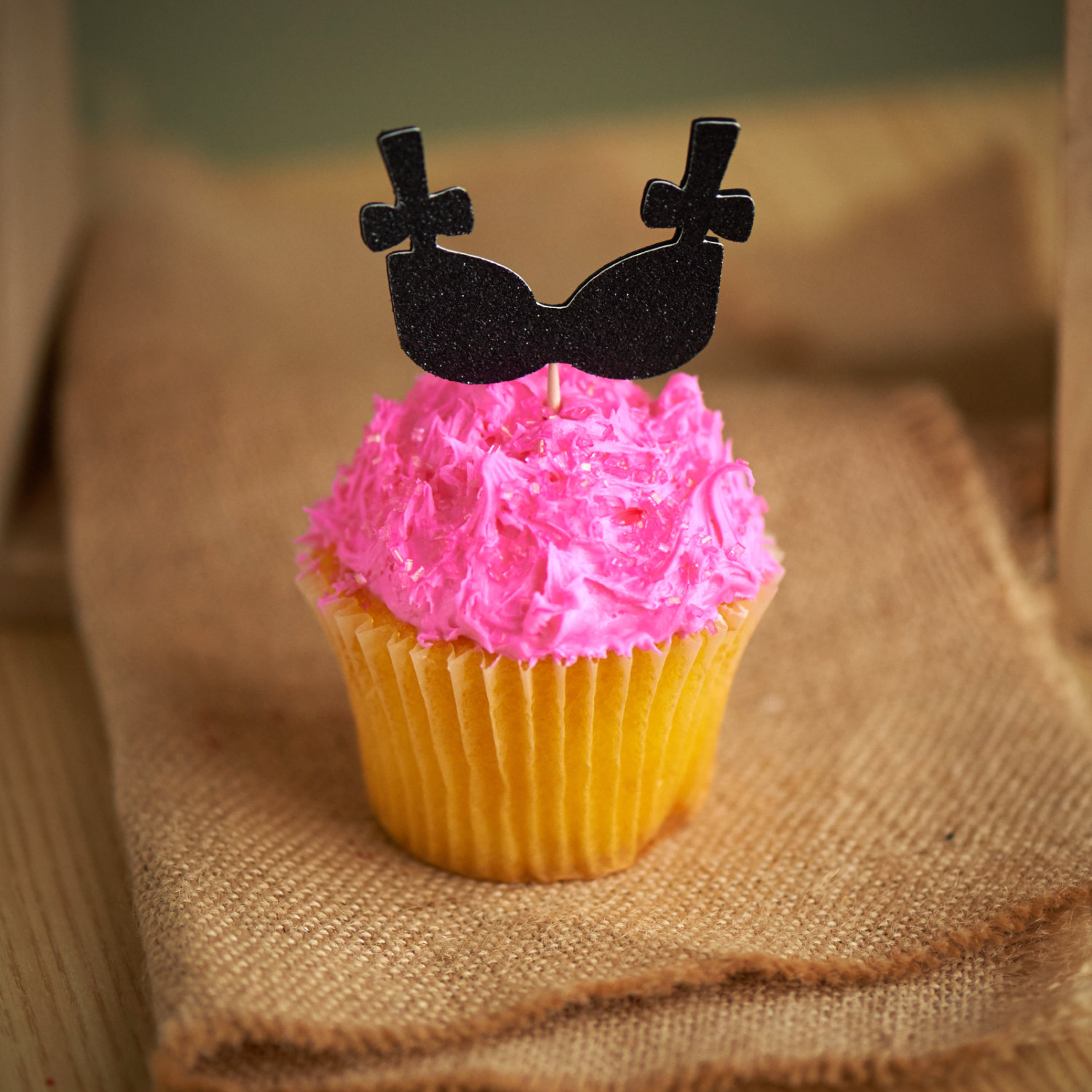 Black Bra Cupcake Toppers On Hot Pink By Confetti Momma Party