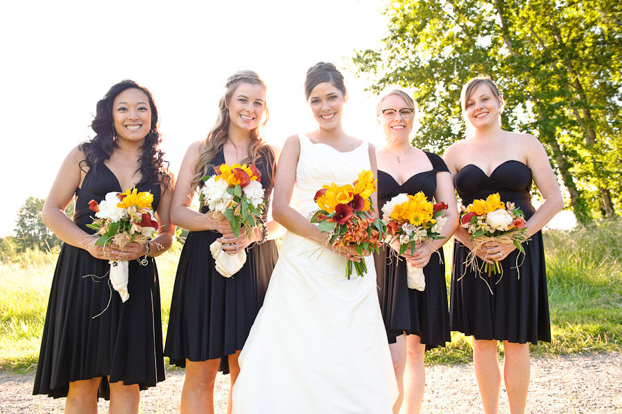 black bridesmaid dresses one dress worn different ways