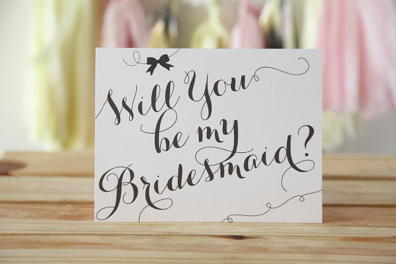 black white calligraphy will you be my bridesmaid card