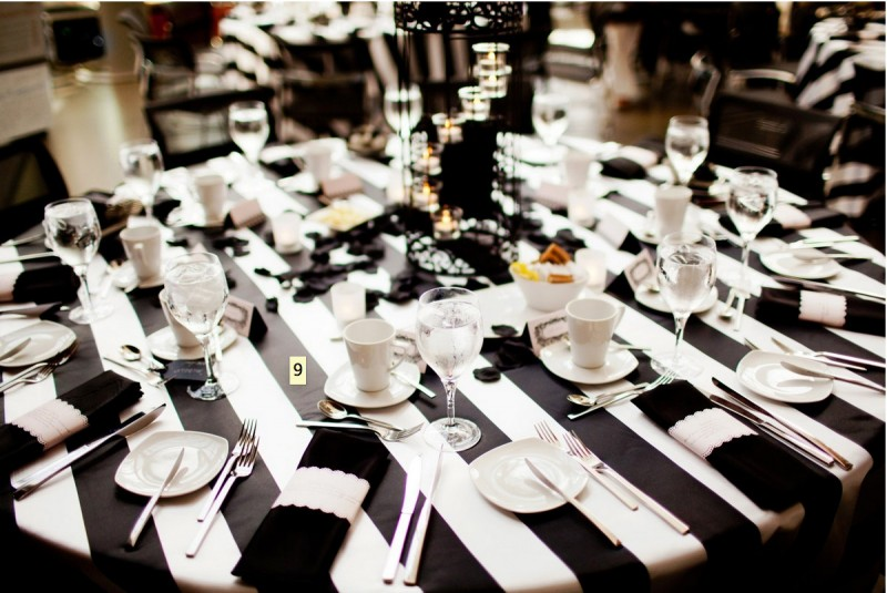 Striped black and white table linen | Black and White Wedding Color Board - http://emmalinebride.com/color/black-and-white-wedding-color-board/