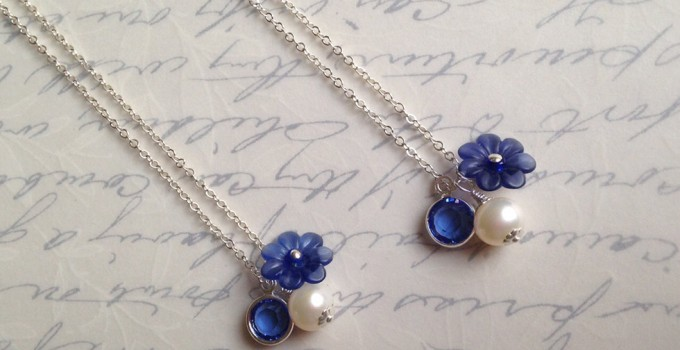 blue charm necklaces