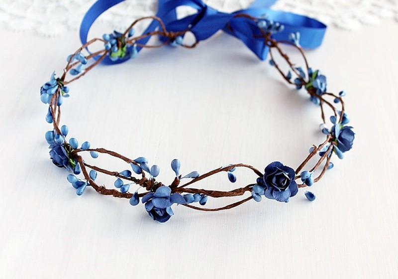 Blue Flowers | Flower Girl Hair Crowns | http://emmalinebride.com/flower-girl/hair-crowns/
