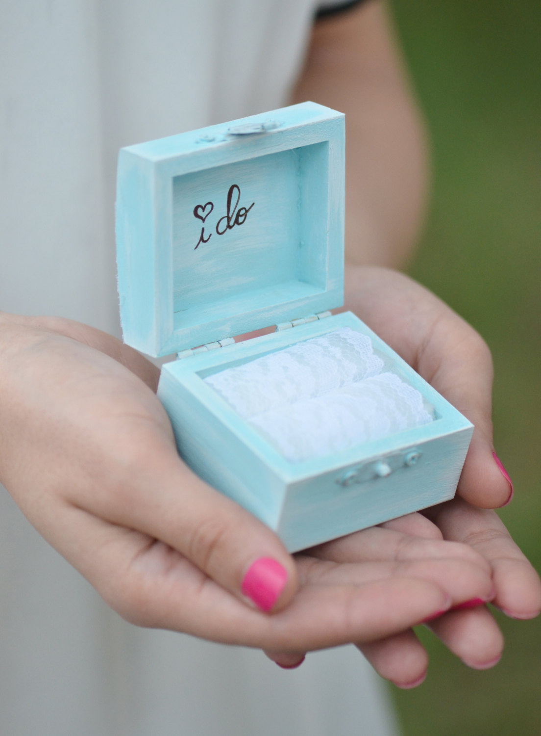 blue lace ring box i do