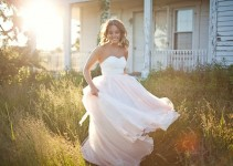 blush chiffon wedding dress