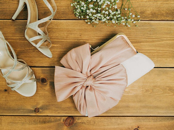 blush classic bow clutch - bridesmaid clutch sets