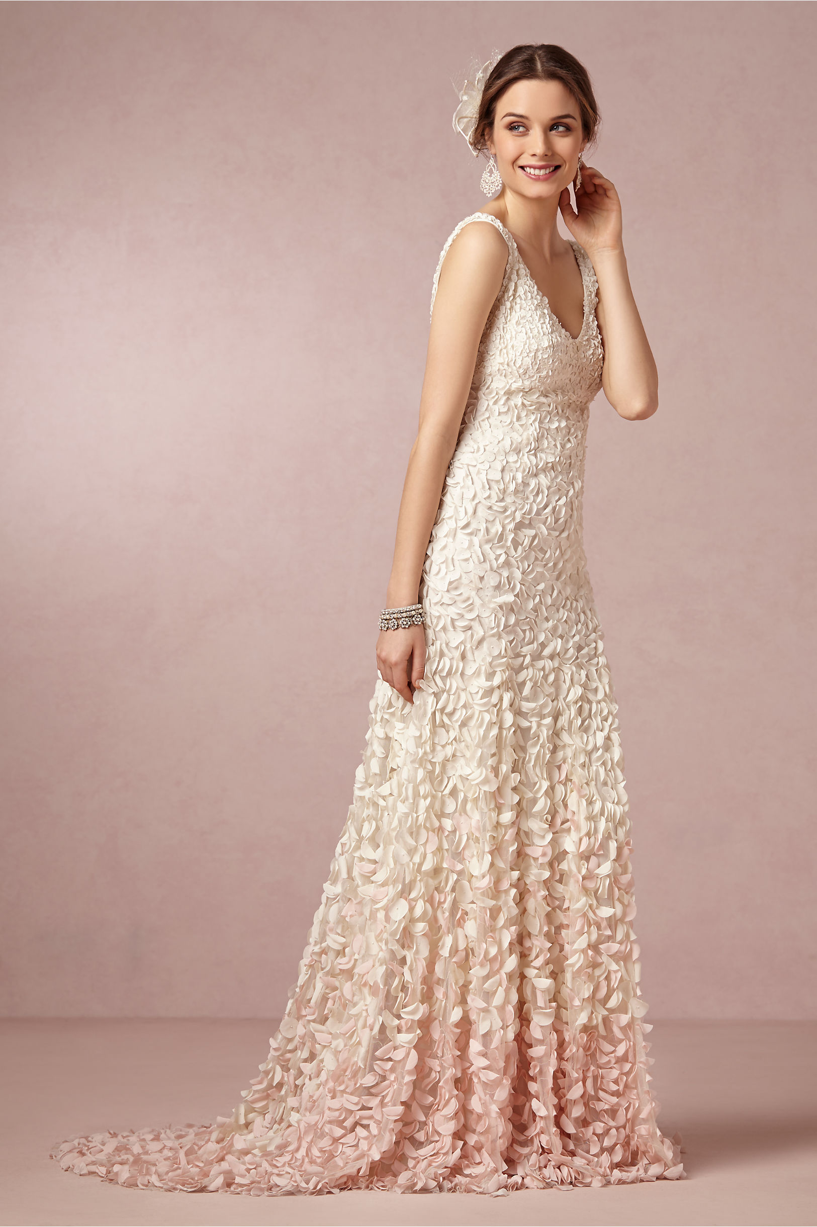 blush petal wedding dress