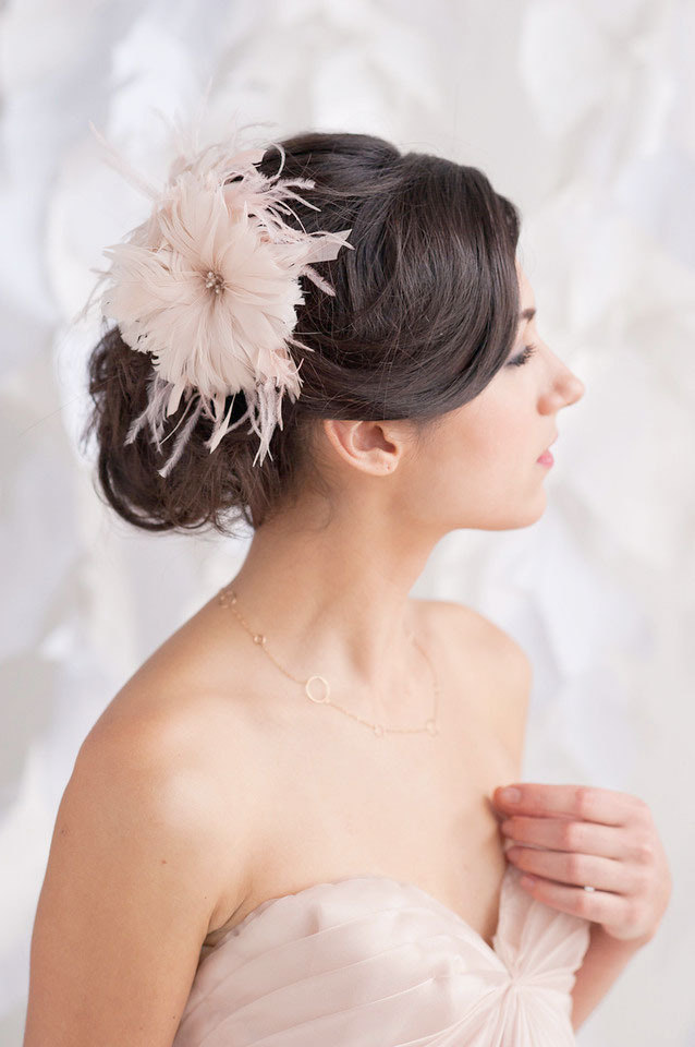 blush pink feather flower headpiece