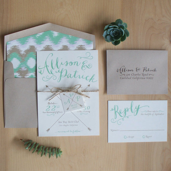 bohemian wedding invitation via 9 Bohemian Wedding Ideas for your Free Spirited Side