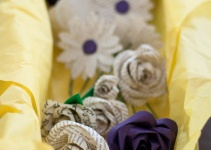 box of paper flowers