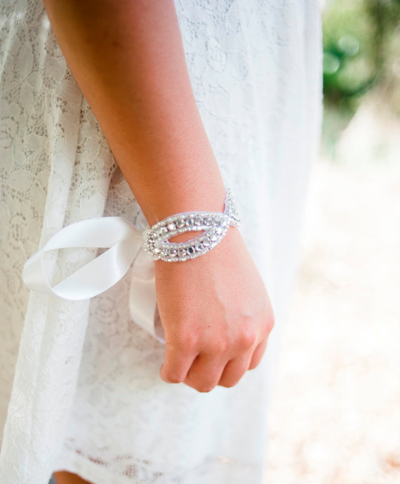 bridal bracelet with ribbon tie