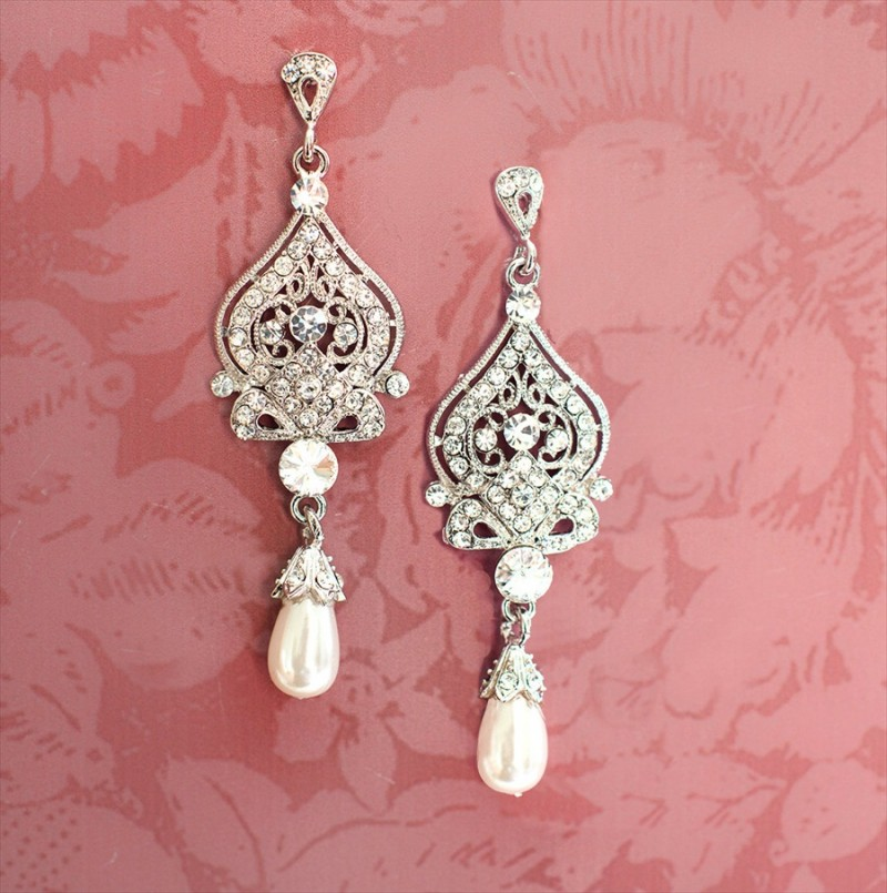 bridal chandelier earrings with pearls 1920s style - Bridal Chandelier Earrings with Pearls