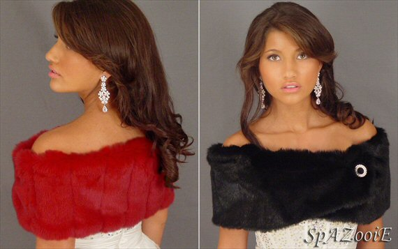 bridal cover ups red faux fur stole black faux fur stole