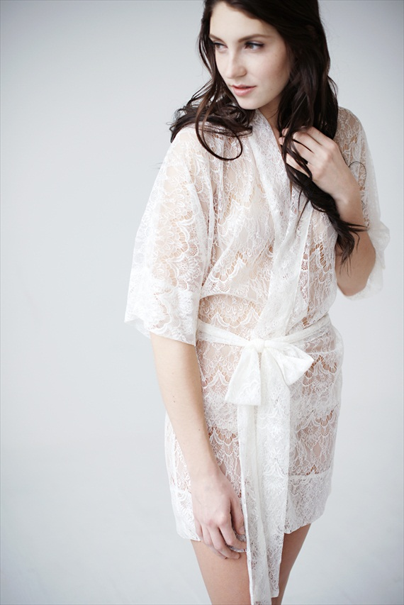 bridal lingerie - lacy white robe (by Tessa Kim)