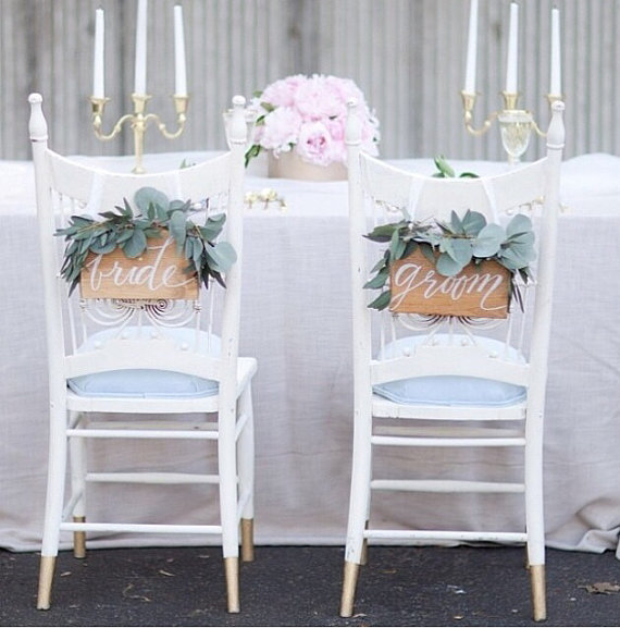 bride and groom chair signs | via http://emmalinebride.com/decor/bride-and-groom-chairs/