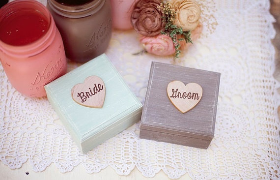 bride groom ring boxes rustic painted