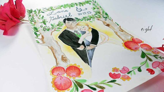 bride and groom wedding illustrations