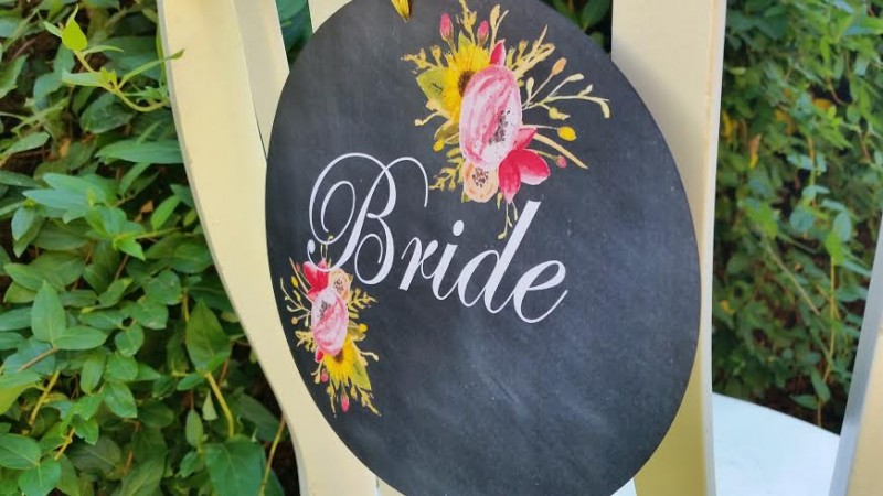 Chalkboard Chair Signs | http://emmalinebride.com/2015-giveaway/chalkboard-chair-signs/