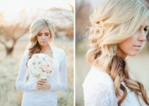 bride curly hair down style