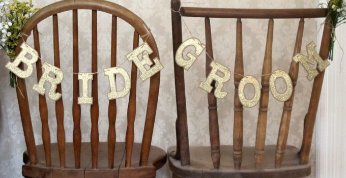 bride groom chair signs rustic chic