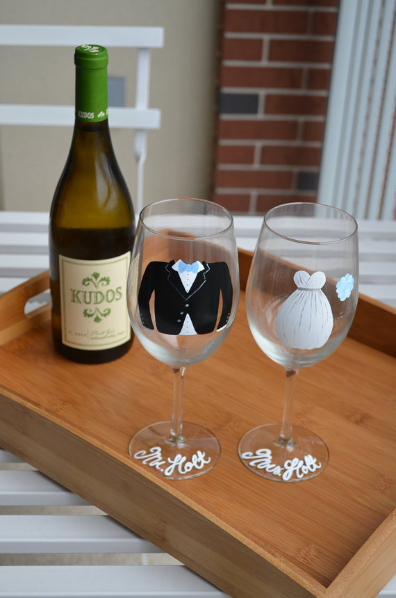 Engagement Gift Ideas (by Kenan Hill) - custom wine glasses #wedding #engagement
