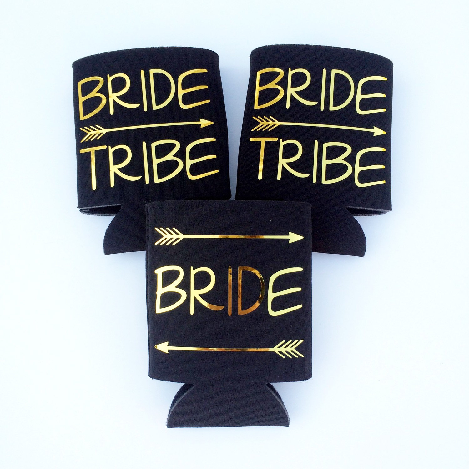 bride tribe beer koozies by TheCraftyEngineer | fun bachelorette party ideas | https://emmalinebride.com/planning/fun-bachelorette-party-ideas/