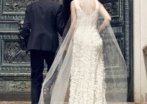 petal wedding dress in ivory