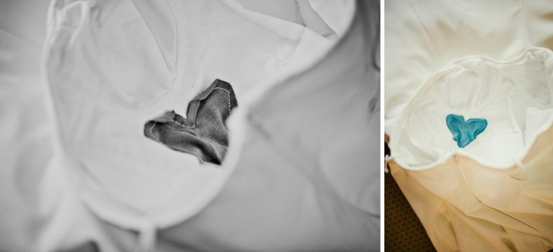 bride's father's shirt sewn in heart on her gown via How to Honor Loved Ones Who Have Passed at Wedding