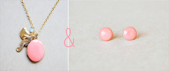 bridesmaid gifts under 50 - pink necklace with seahorse and coral earrings
