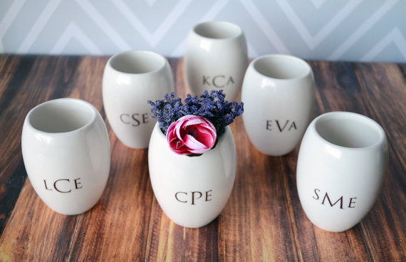 bridesmaid monogram vases | monogrammed bridesmaid gifts