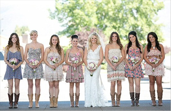 bridesmaids in cowboy boots - via 3 Cute Cheap Wedding Cowboy Boots
