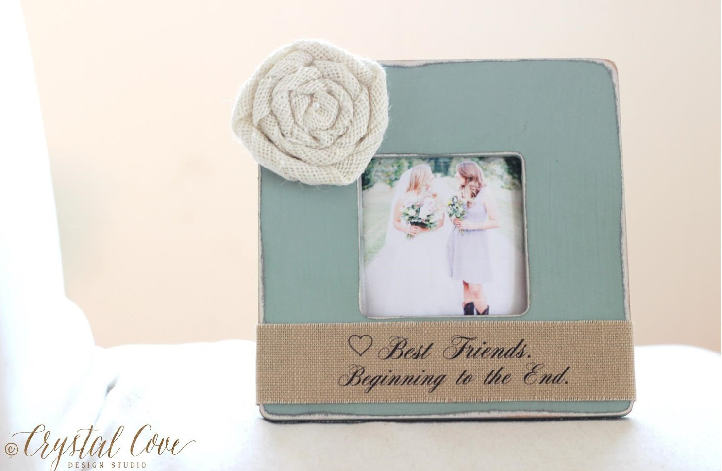 bridesmaids photo frame with burlap | 50 Best Burlap Wedding Ideas | via http://emmalinebride.com/decor/burlap-wedding-ideas/