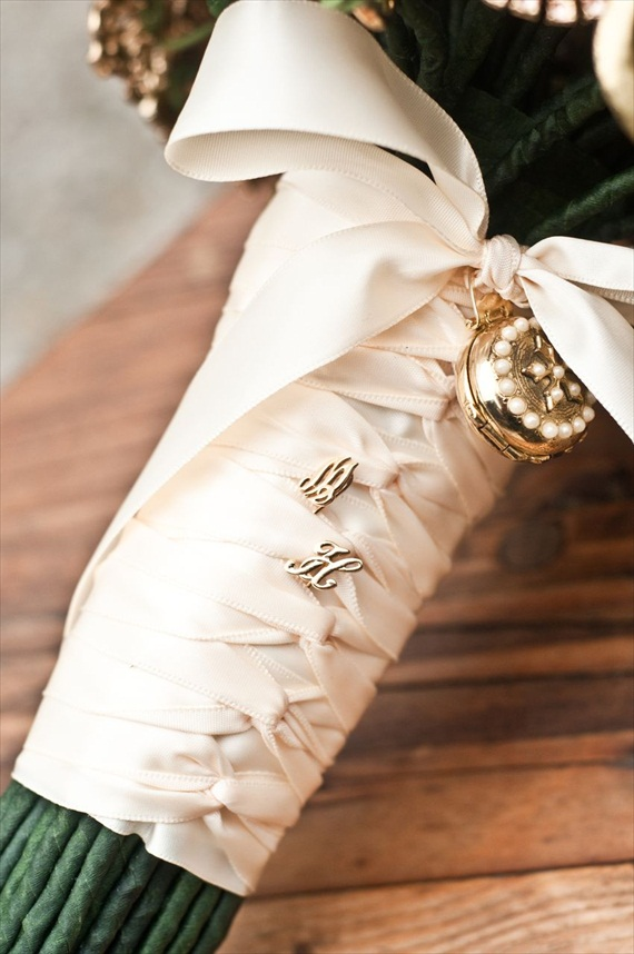 DIY Wedding Ideas: Monogrammed Hat Pins in Bouquet Handle | photo by Meghan Christine Photography